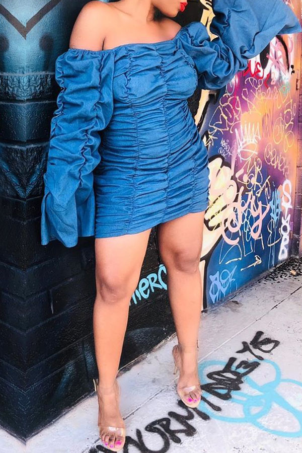 Lovely Chic Ruffle Design Dark Blue Mini Dress