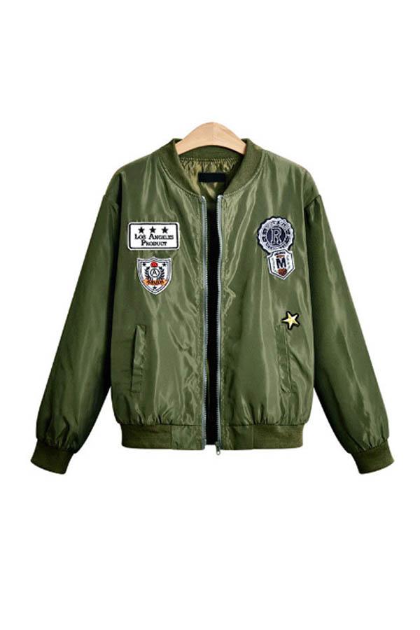 lovelywholesale / Lovely Trendy Zipper Design Army Green Jacket