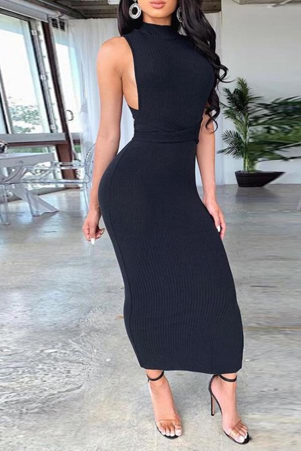 Lovely Sexy Bandage Design Black Ankle Length Dress