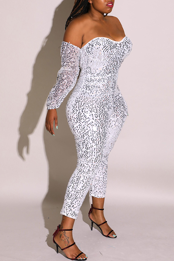 Lovely Sexy Sequined Silver Plus Size One-piece Jumpsuit