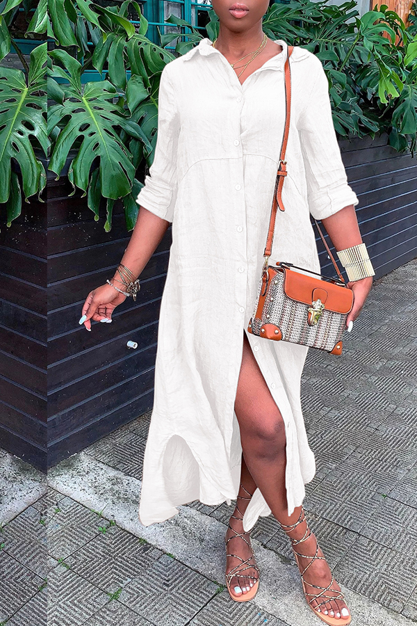 Lovely Casual Buttons Design White Mid Calf Dress