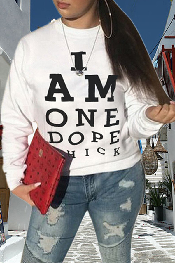 Lovely Casual Letter Printed White Sweatshirt