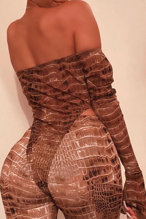 Lovely Sexy Dew Shoulder Print Brown Two-piece Pants Set
