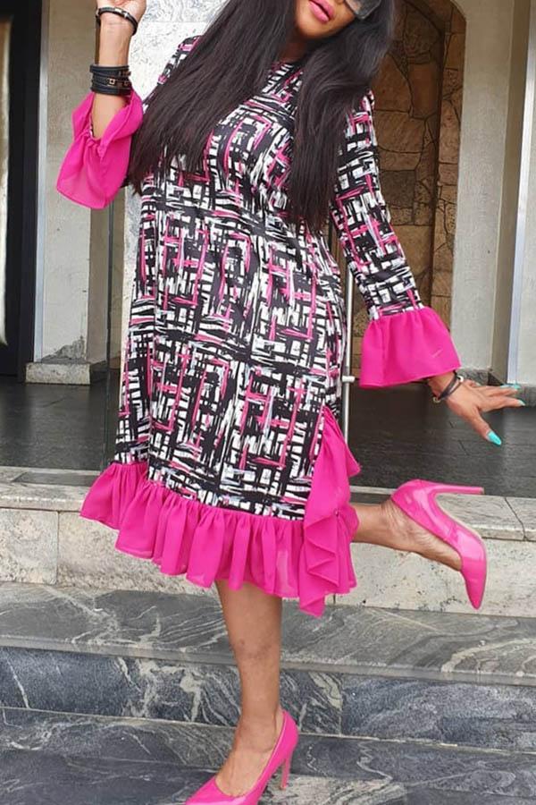 Lovely Sweet Flounce Patchwork Rose Red Knee Length Dress