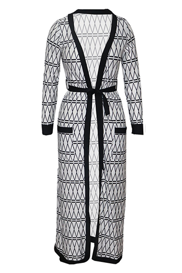 Lovely Casual Printed Long Greyish White Coat(With Belt)