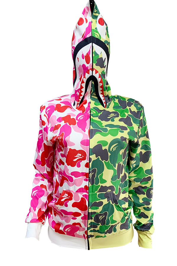 Lovely Casual Patchwork Printed Multicolor Coat