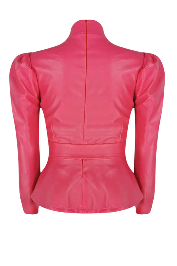 Lovely Trendy Mandarin Collar Lace-up Rose Red Blouse