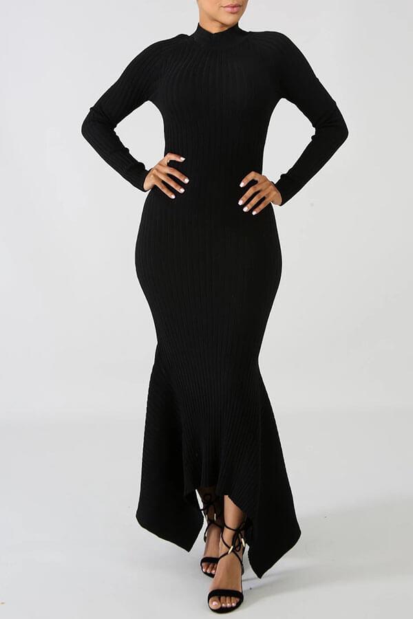 Lovely Casual Skinny Black Floor Length Trumpet Mermaid Dress
