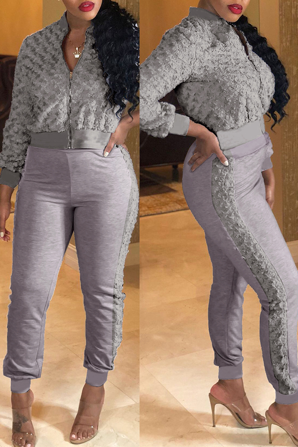 Lovely Casual Winter Patchwork Grey Two-piece Pants Set