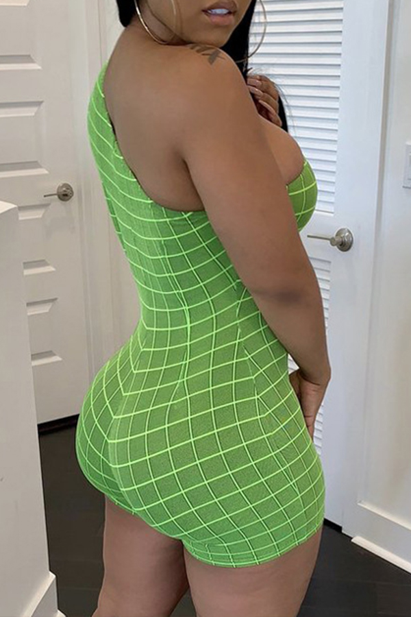Lovely Casual One Shoulder Green One-piece Romper
