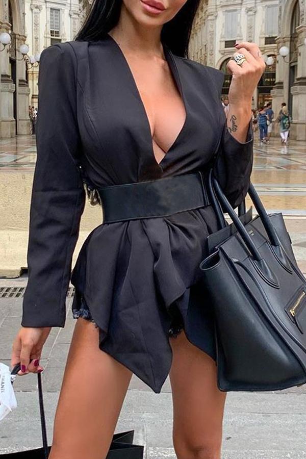 Lovely Trendy Deep V Neck Asymmetrical Black Coat