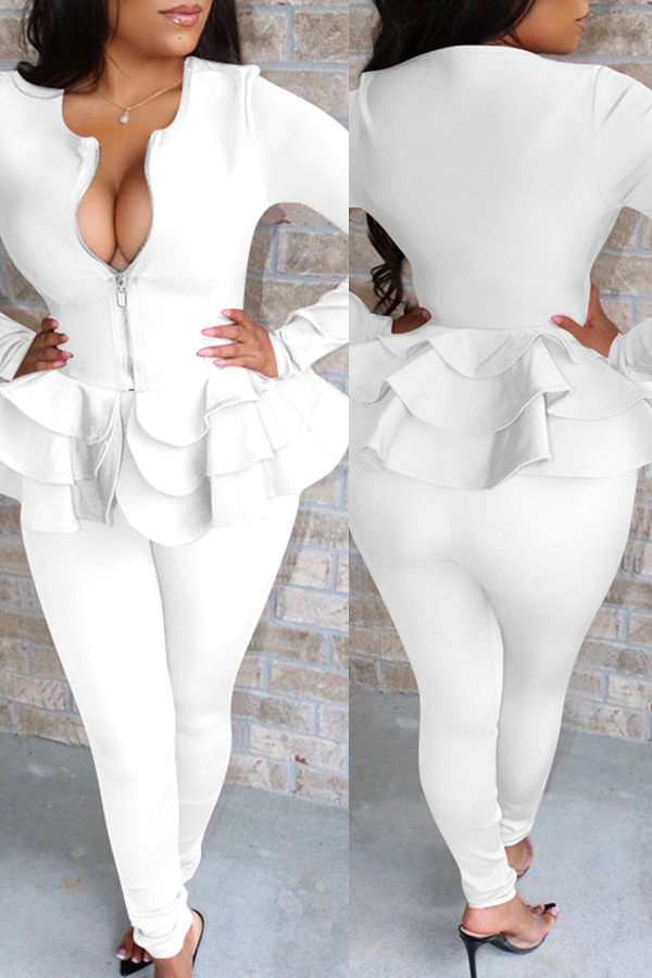 Lovely Casual Flounce Design White Two-piece Pants