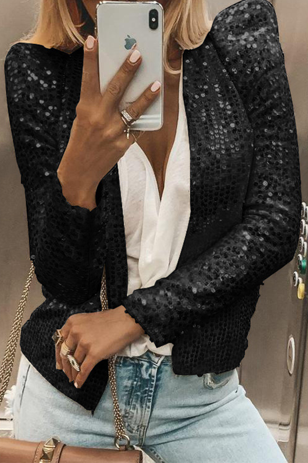 Lovely Casual Sequined Black Blazer