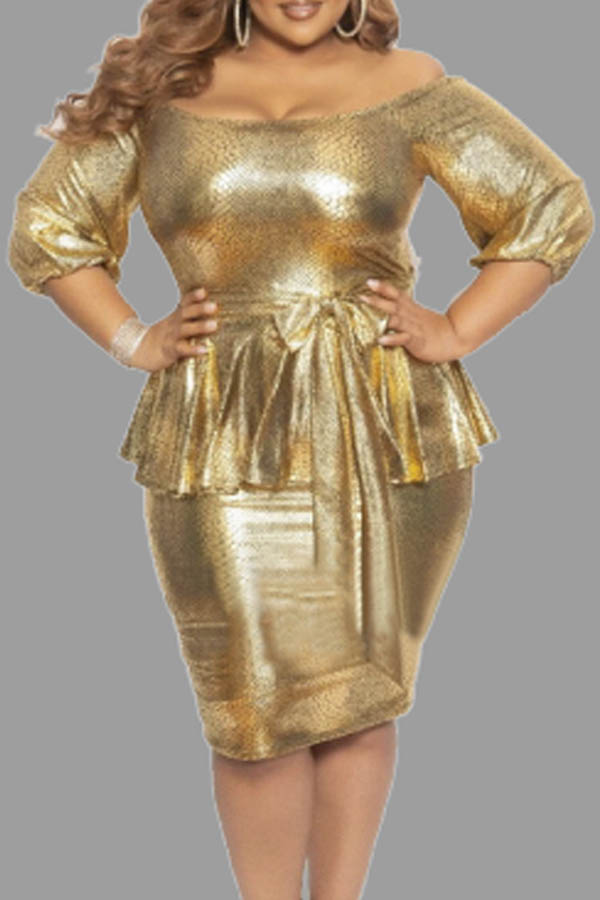 Lovely Chic Flounce Design Gold Plus Size Mini Dress