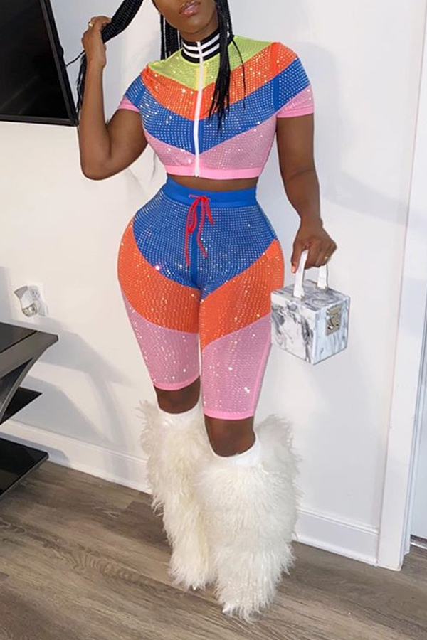 Lovely Sweet Patchwork Multicolor Two-piece Shorts Set