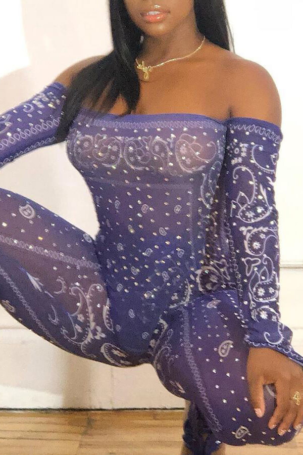 Lovely Trendy See-through Purple One-piece Jumpsuit