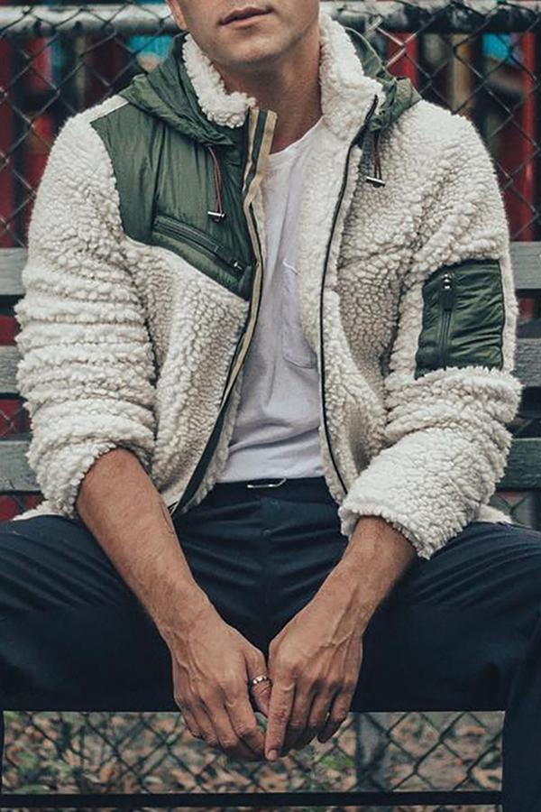 Lovely Casual Hooded Collar Zipper Design White Jacket