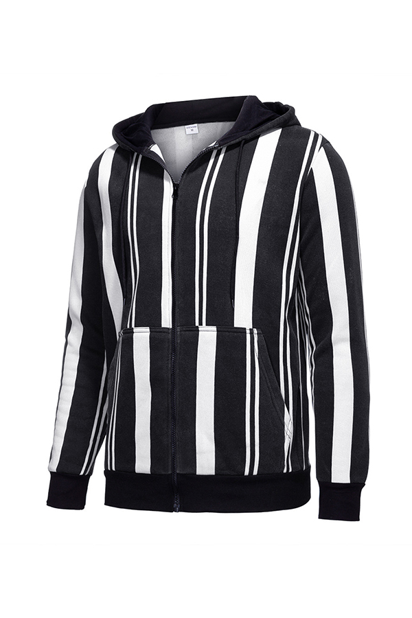 Lovely Casual Hooded Collar Striped Black Jacket