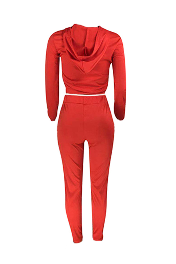 Lovely Casual Hooded Collar Printed Red Two-piece Pants Set