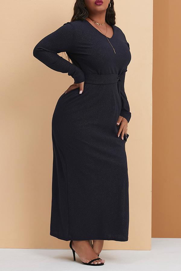Lovely Casual V Neck Silt Deep Blue Floor Length Plus Size Dress