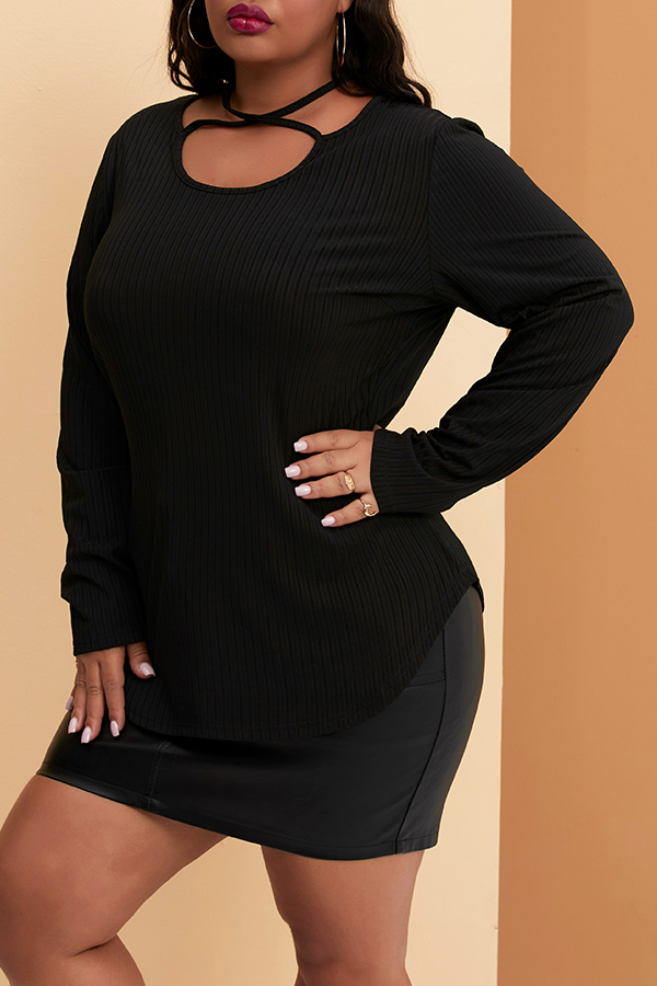 Lovely Casual Hollow-out Black Plus Size T-shirt