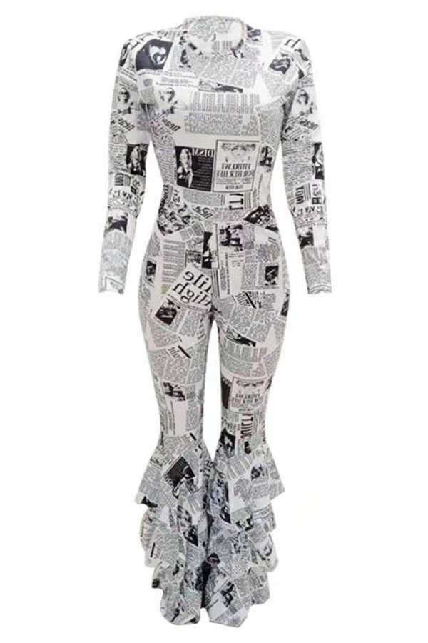 Lovely Trendy Printed Flounce Milk White One-piece Jumpsuit