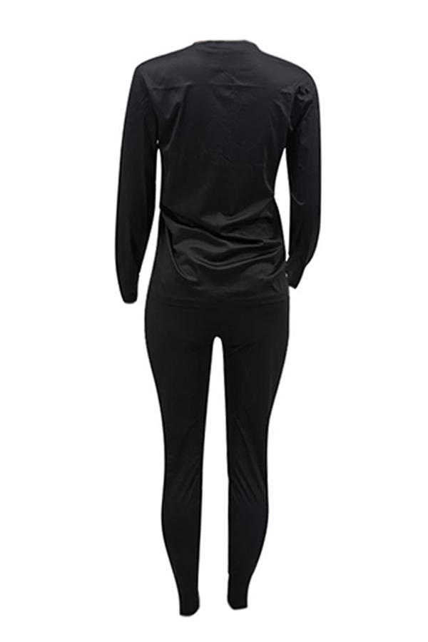 Lovely Leisure Lip Printed Black Plus Size Two-piece Pants Set