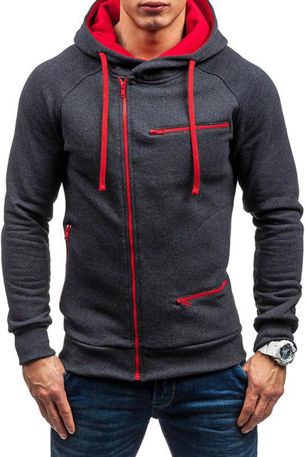 Lovely Trendy Hooded Collar Patchwork Dark Grey Hoodie
