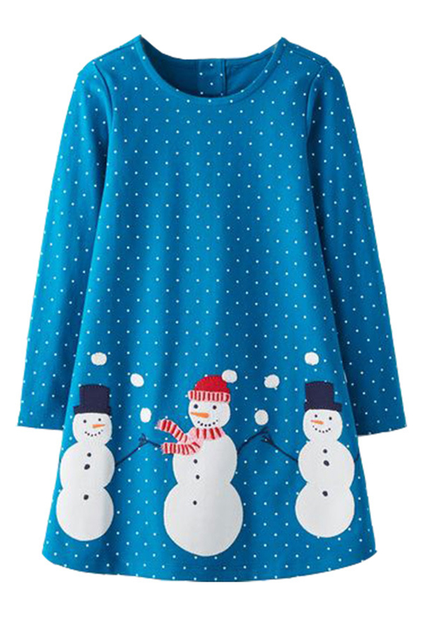 Lovely Christmas Day Printed Sky Blue Knee Length Girls Dress