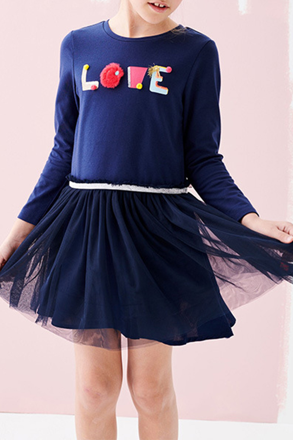 Lovely Sweet Patchwork Dark Blue Knee Length Girls Dress