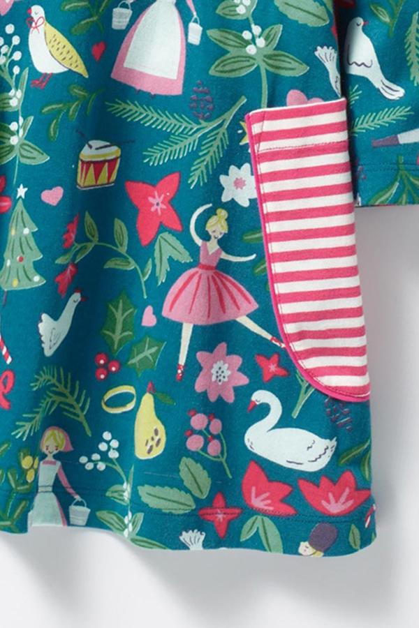 Lovely Sweet Printed Cyan Knee Length Girls Dress