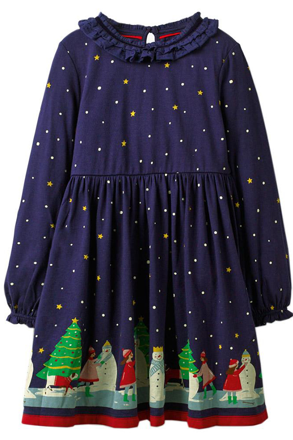 Lovely Sweet Dot Printed Dark Blue Knee Length Girls Dress