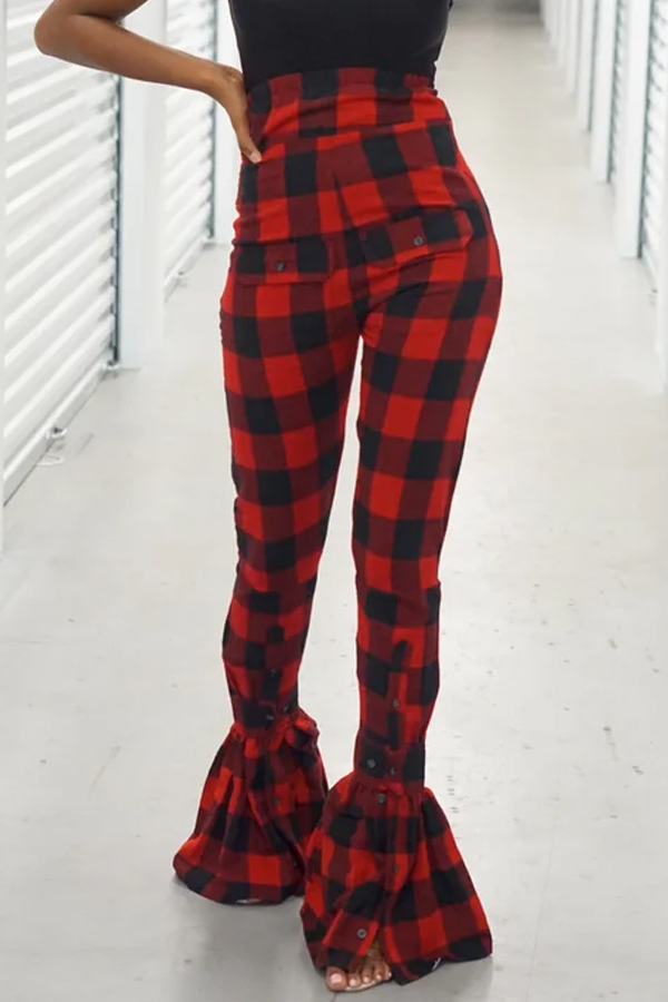 Lovely Casual Plaid Printed Red Pants