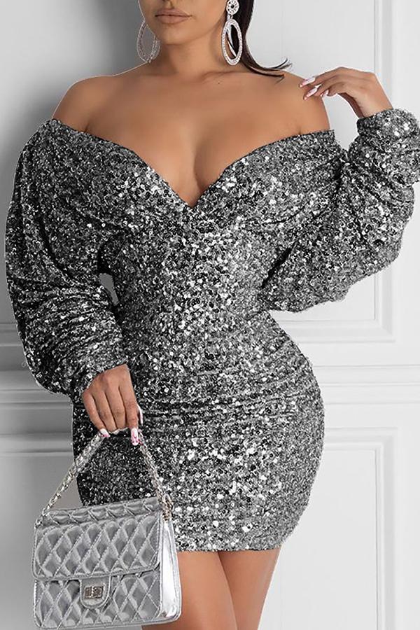 Lovely Casual Deep V Neck Black Mini Dress