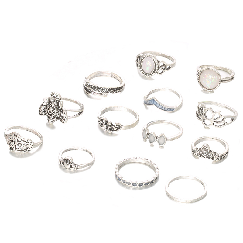 Lovely Trendy 13-piece Silver Ring