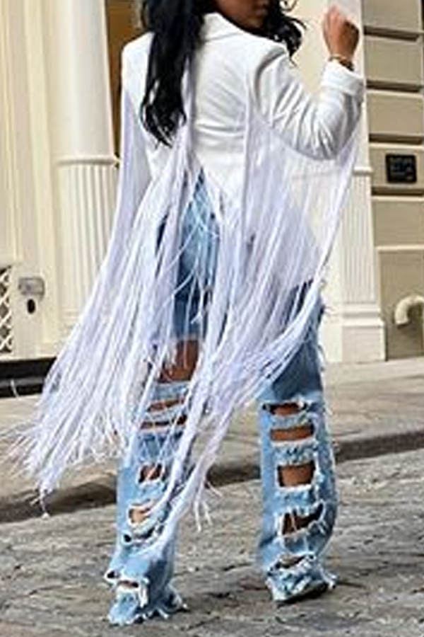 Lovely Casual Tassel Design White Blazer