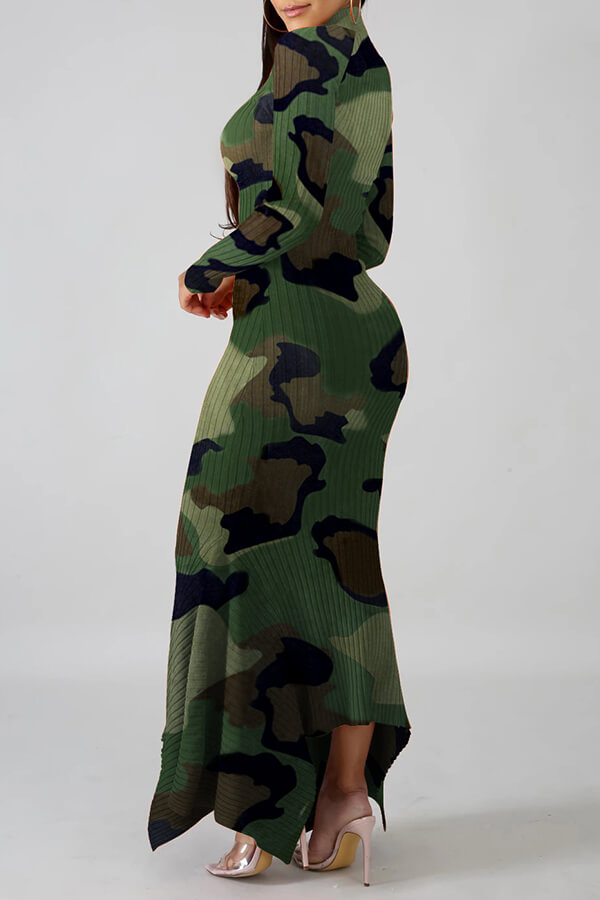 Lovely Casual Camouflage Printed Ankle Length Dress