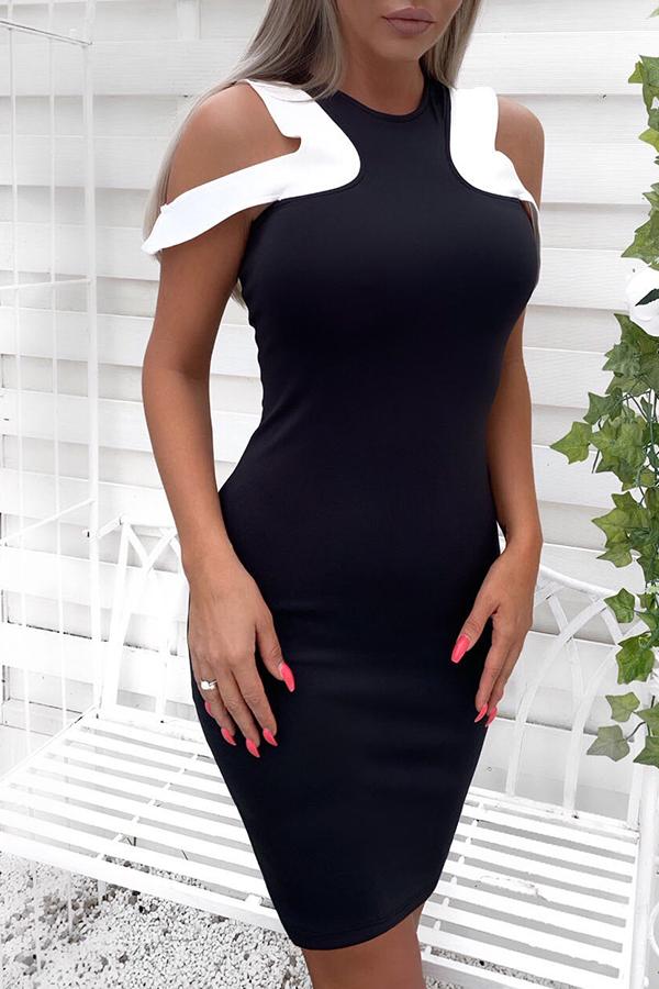 Lovely Casual Dew Shoulder Black Mini Dress