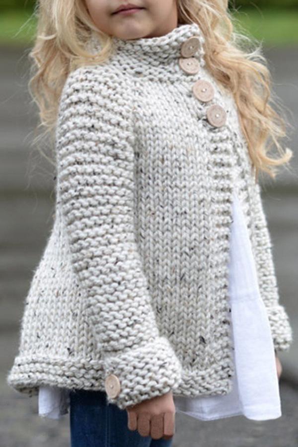 Lovely Sweet Buttons Design Beige Girls Cardigan
