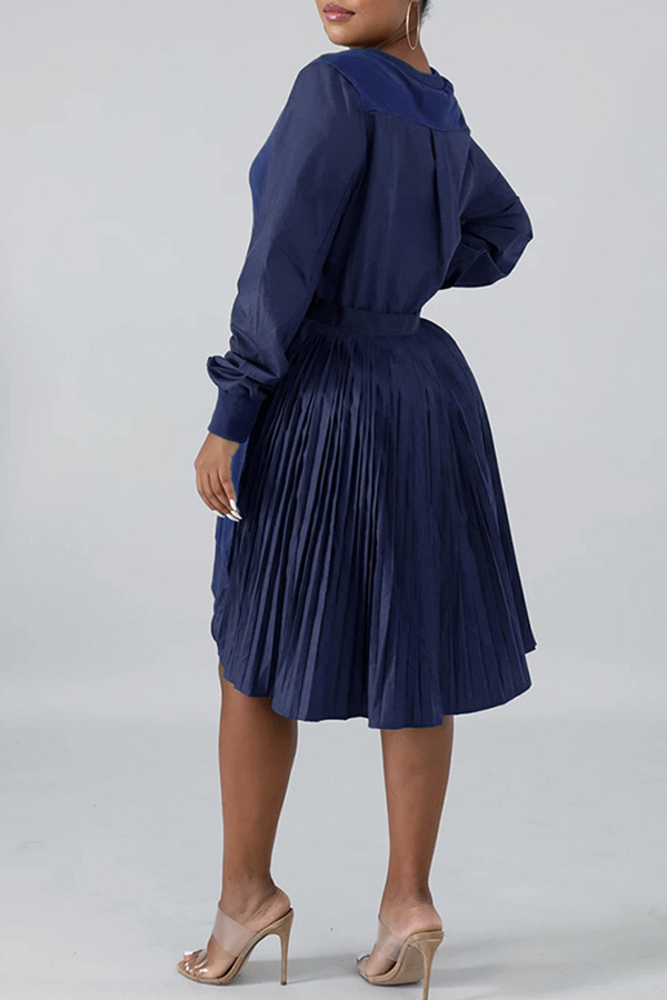 Lovely Casual Patchwork Royal Blue Knee Length Dress