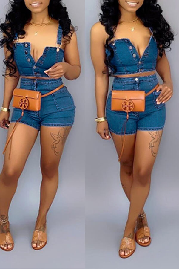 Lovely Trendy Buttons Design Blue Two-piece Shorts Set
