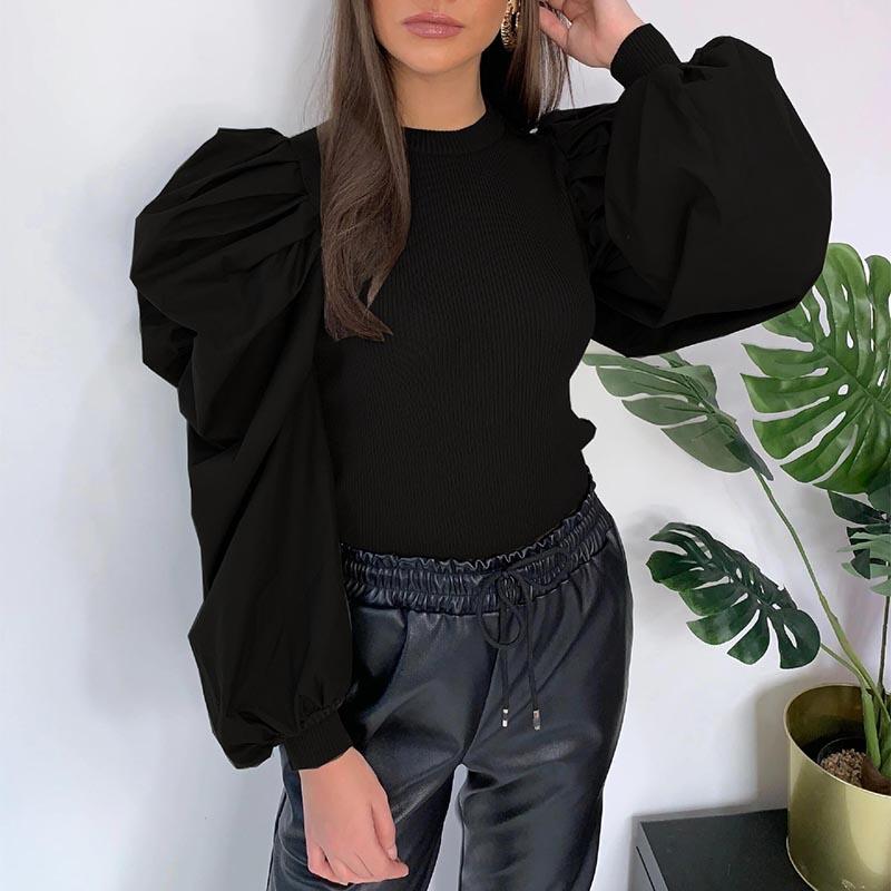 Lovely Sweet Ruffle Design Black Blouse
