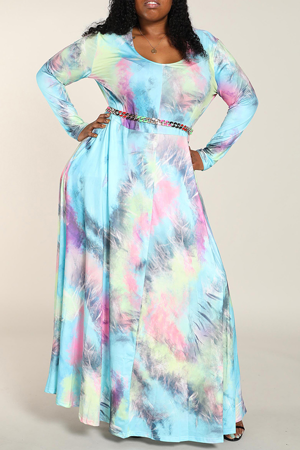 Lovely Casual V Neck Printed Multicolor Floor Length Plus Size Dress