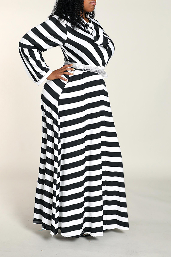 Lovely Casual Striped Black Floor Length Plus Size Dress