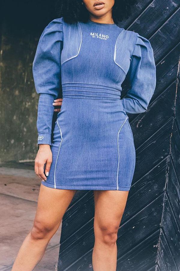 Lovely Casual Patchwork Blue Mini Dress