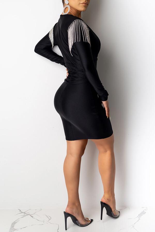 Lovely Party V Neck Black Mini Dress