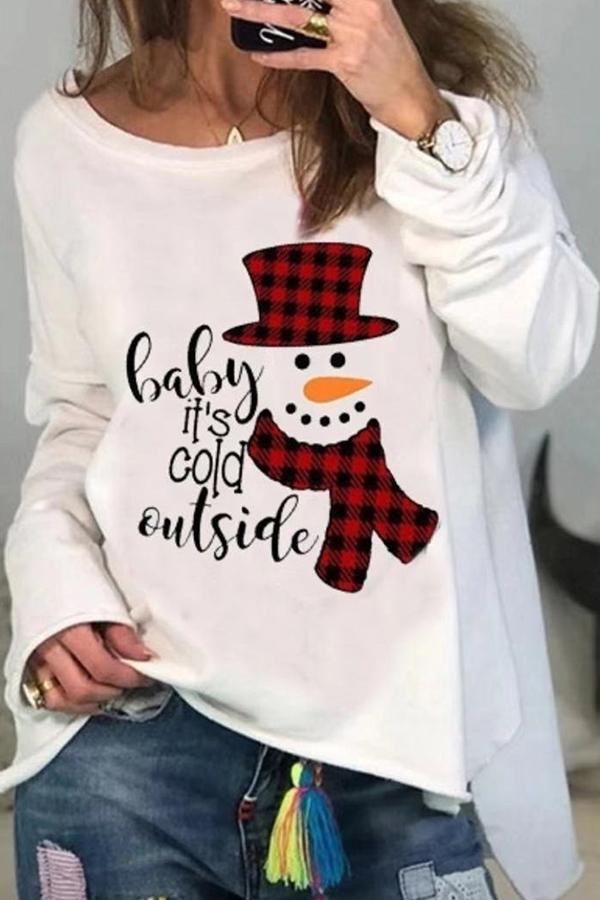 Lovely Christmas Day O Neck White  Blouse