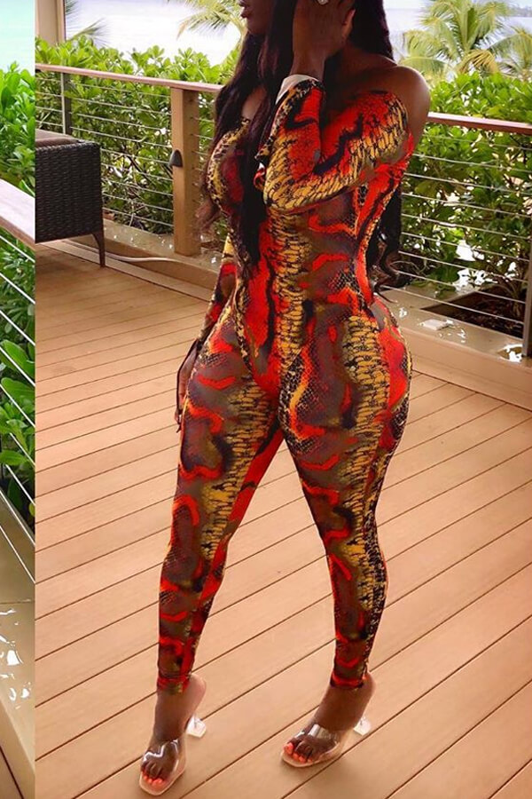 Lovely Leisure Snakeskin Printed Skinny One-piece Jumpsuit