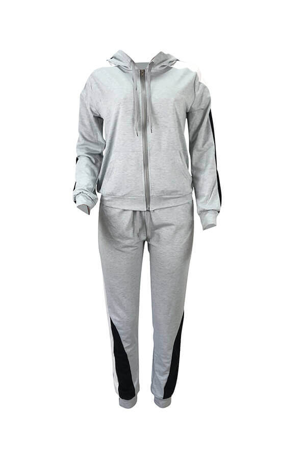 Lovely Casual Hooded Collar Patchwork Grey Two-piece Pants Set