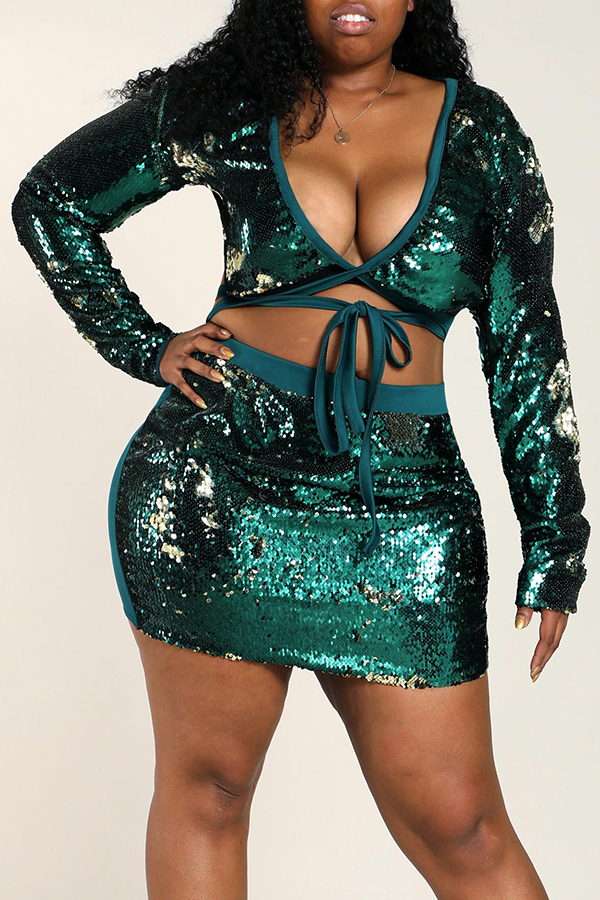 Lovely Trendy Patchwork Green Plus Size Two-piece Skirt Set